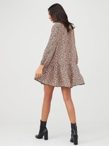 boohoo Leopard Smock Dress - Animal