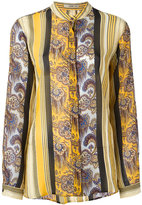 Etro Collarless striped print blouse - women - Silk - 46