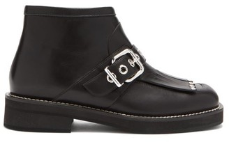 Marni Fringed Leather Ankle Boots - Black