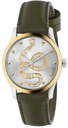 Gucci Men's 38mm G-Timeless 2-Tone Snake Watch w/ Leather Strap