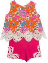 Rare Editions 2-Pc. Cotton Lace-Trim Floral Top & Shorts Set, Baby Girls (0-24 months)