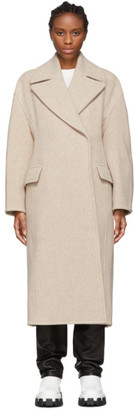 Acne Studios Beige Boiled Wool Sculptural Coat