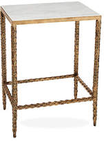 One Kings Lane Wright Marble Side Table - Gold/White