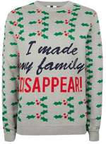 Topman Grey I Made My Family Disappear Ugly Sweater