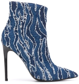 Just Cavalli 120mm Pointed Distressed Denim Boots