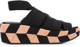 Salvatore Ferragamo grosgrain wedge sandals - women - Leather/Polyamide/Polyester/rubber - 5
