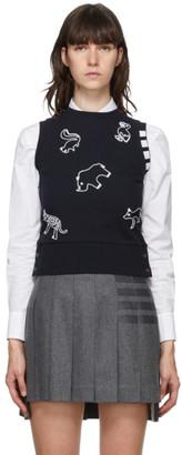 Thom Browne Navy Pique Animal Icon Sweater