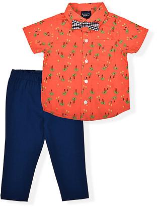 Little Rebels Boys' Dress Pants CORAL - Coral & Blue Tucan Button-Up & Blue Pants - Infant
