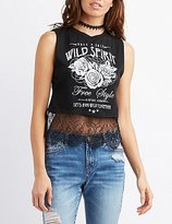 Charlotte Russe Wild Spirit Lace-Trim Muscle Tee
