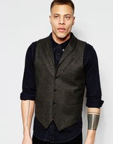 Asos Waistcoat In Tweed With Shawl Collar In Brown