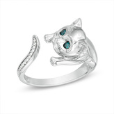Zales Enhanced Blue and White Diamond Accent Cat Open Ring in Sterling Silver - Size 7