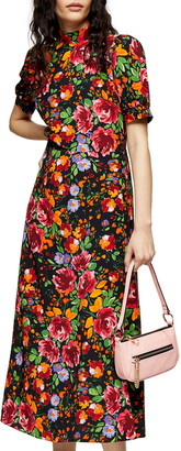 Topshop Floral Print Midi Tea Dress