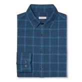 Merona Men's Plaid Button Down Shirt Dark Blue