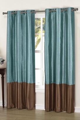 Duck River Textile Bridgette Faux Silk Thermal Blackout Curtain - Set of 2 - Blue/Chocolate