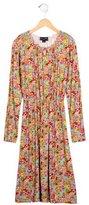 Oscar de la Renta Girls' Jersey Knit Floral Printed Dress