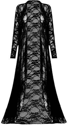 Fashion Star Womens Full Lace Front Open See Through Maxi Long Sleeve Ladies Floaty Cardigan Black