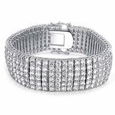 Bling Jewelry Bridal Tennis Bracelet Six Row Clear CZ 7.5in Rhodium Plated
