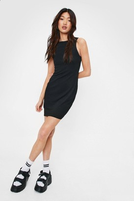 Nasty Gal Womens Ribbed Fitted Racerback Mini Dress - Black