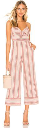 J.o.a. Striped Linen Tie Front Jumpsuit