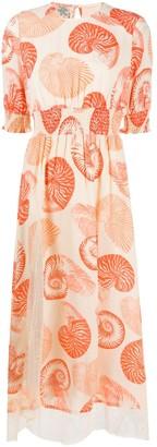 Baum und Pferdgarten Shell-Print Midi Dress
