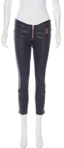 Thomas Wylde Leather Low-Rise Pants
