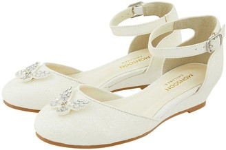 Monsoon Girls Elliana Ivory Butterfly 2 Part Wedge Shoes - Ivory