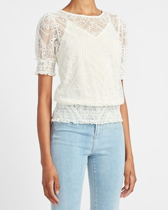 Express Smocked Lace Top