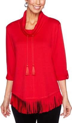Ruby Rd. Women's Tunics Red - Red Tassel Cowl Neck Fringed Tunic - Women
