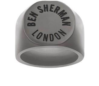 """Ben Sherman Men's London"""" Ring in Stainless Steel Black IP (Size 10)"""
