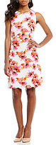 Kasper Sleeveless Scalloped Hem Floral-Print Jacquard Dress