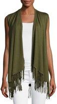 Neiman Marcus Open-Front Vest with Fringe Trim, Olivette