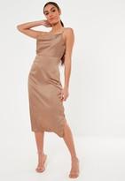Missguided Taupe Satin Cowl Cami Slip Midi Dress