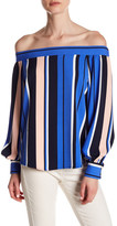 Romeo & Juliet Couture Off-the-Shoulder Multi Colored Striped Shirt
