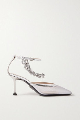 Cesare Paciotti Chain-embellished Metallic Leather-trimmed Mesh Pumps - Silver