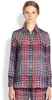 Thakoon Floral & Plaid-Print Shirt