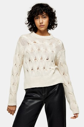 Topshop Womens Oat Crew Neck Cropped Cable Knitted Jumper - Oatmeal