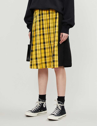 Chocoolate Check-print pleated flannel and stretch-jersey skirt