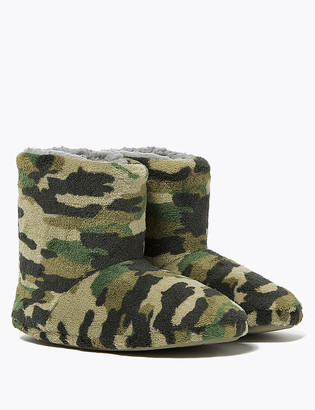 Marks and Spencer Kids' Camouflage Slipper Boots (5 Small - 7 Large)