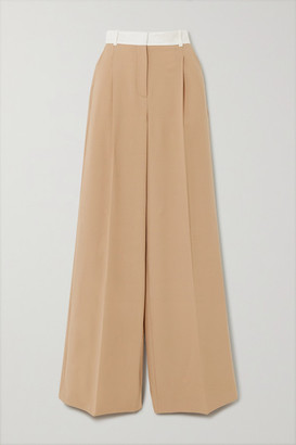 Racil Two-tone Twill-trimmed Wool-blend Wide-leg Pants - Tan