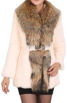 Helan Apparel Helan Women's Short Faux Rabbit Fur Coat With Big Faux Fur Collar US