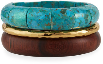 Nest Jewelry Turquoise Rosewood Stack Bangles, Set of 3