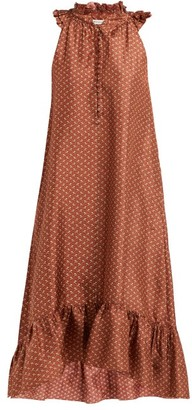 Masscob Dunn Floral-print Ruffled Silk Dress - Womens - Orange Multi