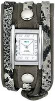 La Mer Women's LMLW4045 Cement Snake Silver Layered Wrap Watch
