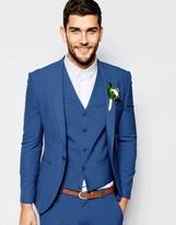 Asos Wedding Super Skinny Suit Jacket In Mid Blue