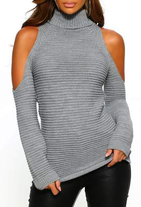 Pink Boutique Dreamy Darling Grey Turtle Neck Chunky Knit With Cold Shoulder