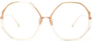 Linda Farrow Oversized Hexagonal Titanium Glasses - Womens - White Gold