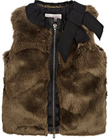 Lanvin GROSGRAIN-TRIMMED FAUX-FUR VEST-BROWN SIZE 10