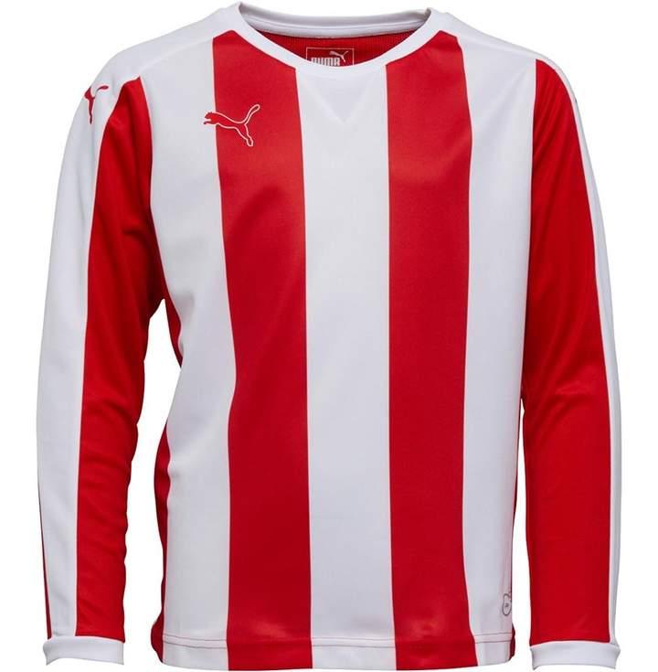Puma Junior Boys Striped Long Sleeve Shirt Red/White