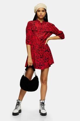 Topshop TALL Red Animal Mini Shirt Dress