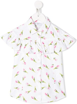MonnaLisa Ruffled Tulip-Print Shirt